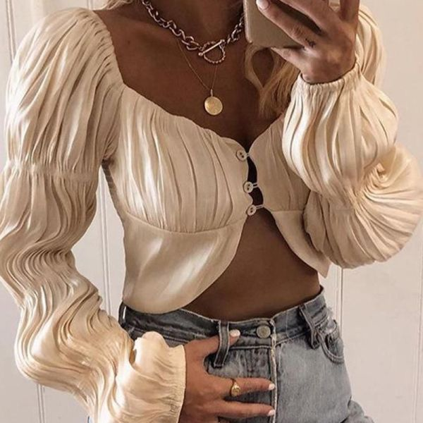 Solid Button-Up Crop Top 2