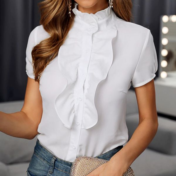 Solid Mock Neck Short Sleeve Frill Buttoned Blouse 2