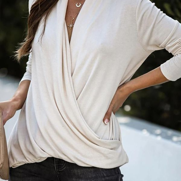 Solid V-neck Ruched Wrap Casual Blouse 2