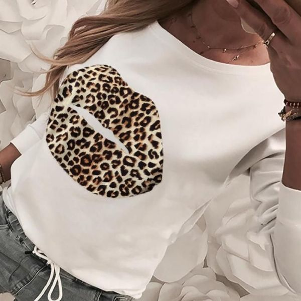 Mouth Pattern Leopard Print Casual Blouse 2
