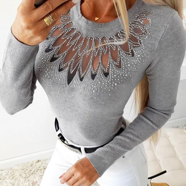 Hot Stamping Sheer Mesh Insert Long Sleeve Blouse 2