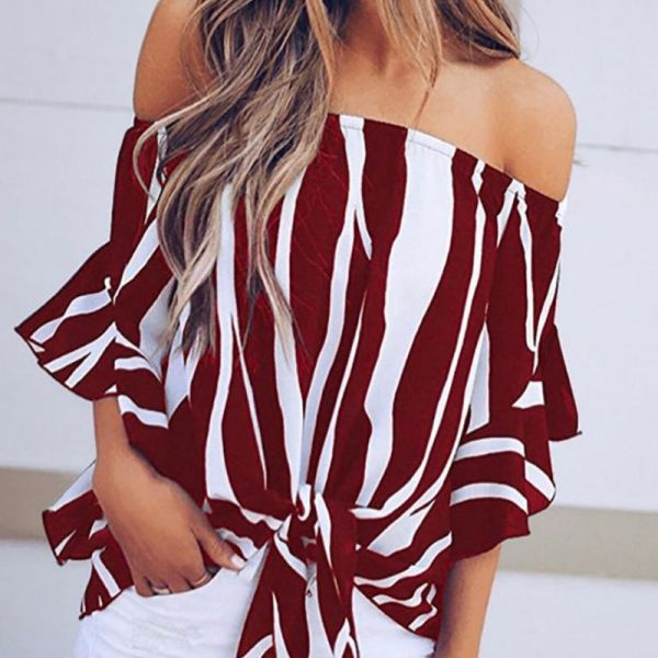 Striped Knot Front Flared Sleeve Bardot Blouse 2