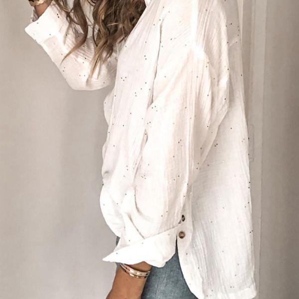 Rinestone Long Sleeve Casual Shirt 2