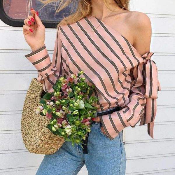 Stripes Skew Neck Knotted Sleeve Blouse 2