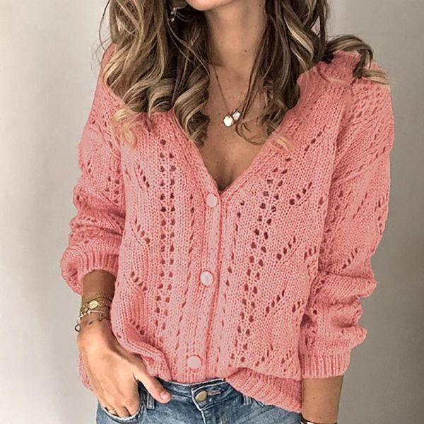 Buttoned Hollow Out V-Neck Blouse 2