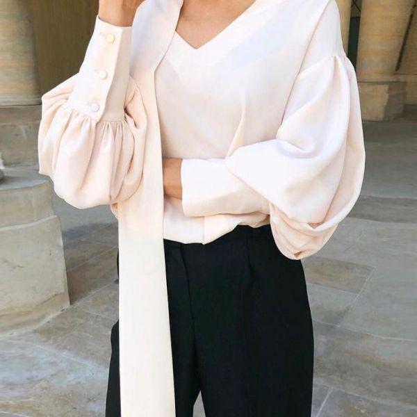 V Neck Scarf Design Bishop Sleeve Blouse 2