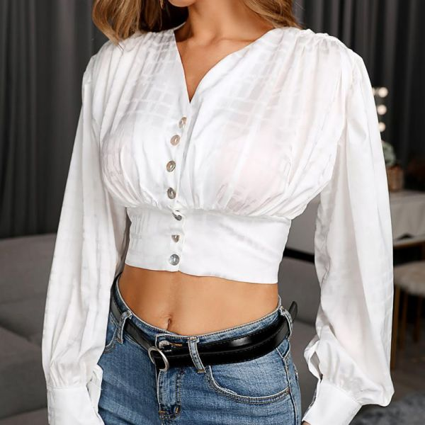 V Neck Button-Up Blouse 2