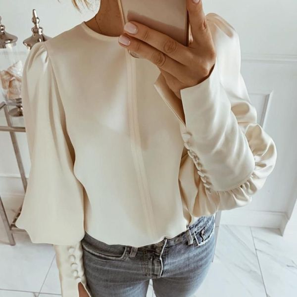 Solid Round Neck Balloon Sleeve Blouse 2