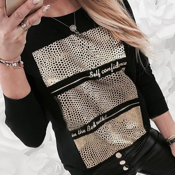 Long Sleeve Letter Patch Casual Blouse 2