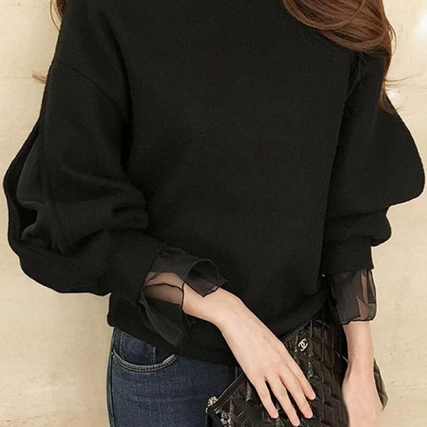 Solid Mesh Sleeve Casual Blouse 2