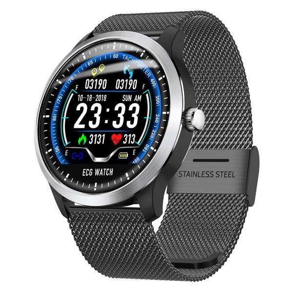 N58 Smart Watch Sports Bracelet PPG ECG HRV Report Heart Rate Blood Pressure Test Monitor Pedometer - Black Steel 2