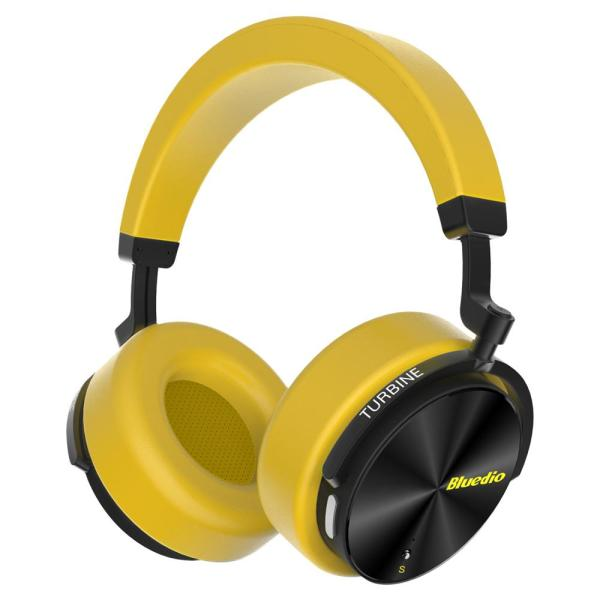 Bluedio T5S Active Noise Cancelling Wireless Bluetooth Headphones Portable Headset with Microphone - Yellow 2