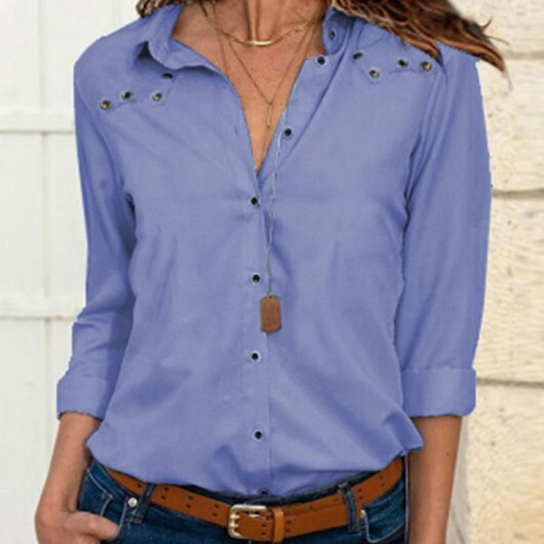 Turn-down Collar Long Sleeve Casual Shirt 2