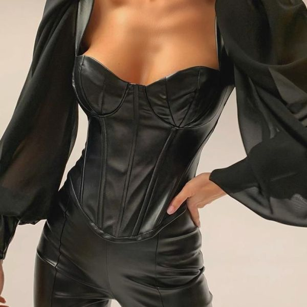 Leather Semi Sheer Patchwork Low Cut Blouse 2