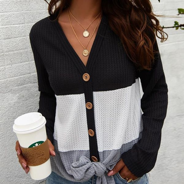Colorblock Insert Buttoned Knotted Blouse 2