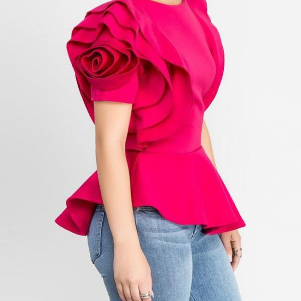 Layered Sleeve Ruffles Hem Irregular Solid Blouse 2