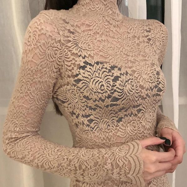 High Neck Mesh Lace Pattern Top 2