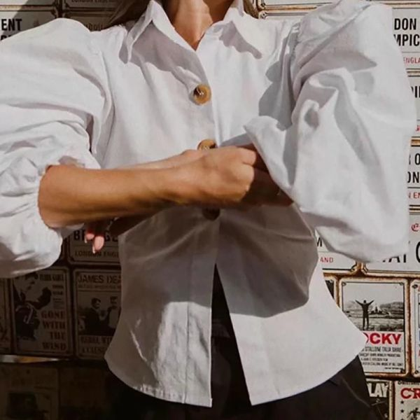 Solid Turn-down Collar Lantern Sleeve Buttoned Shirt 2