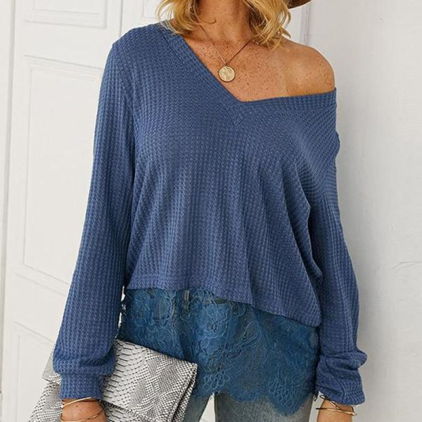 V Neck Rib Knit T-Shirt 2