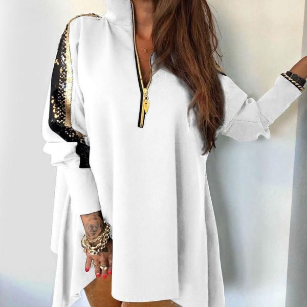 Sequins Patchwork Stand Zipper Design Blouse 2