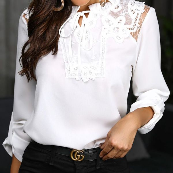 Lace Insert Frill Hem Casual Blouse 2