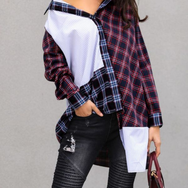 Colorful Plaid Splicing Casual Shirt 2