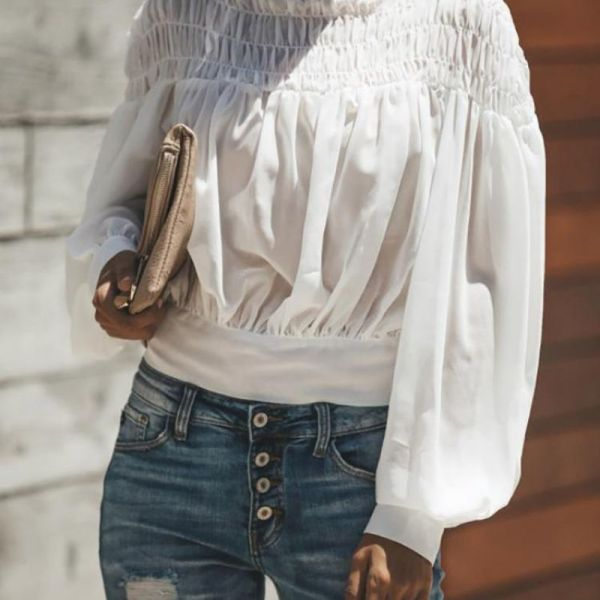 Lantern Sleeve Shirring Ruched Casual Top 2