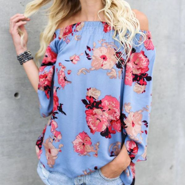 Fashion Off Shoulder Printed Blouse 2
