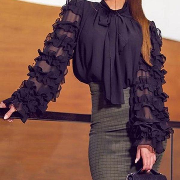 Scarf Neck Long Sleeve Blouse 2