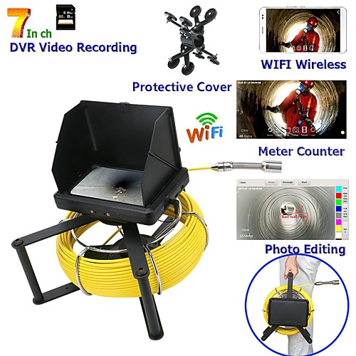 7inch 23 mm lens Endoscope HD 1080P Sewer Pipe Inspection Camera With Meter Counter / DVR Video recording / WIFI wireless / Keyboar Photo Editing-10m/20m/30m/40m/50m 2