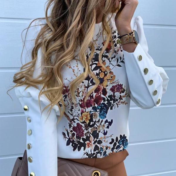 Floral Print Buttoned Detail Casual Blouse 2