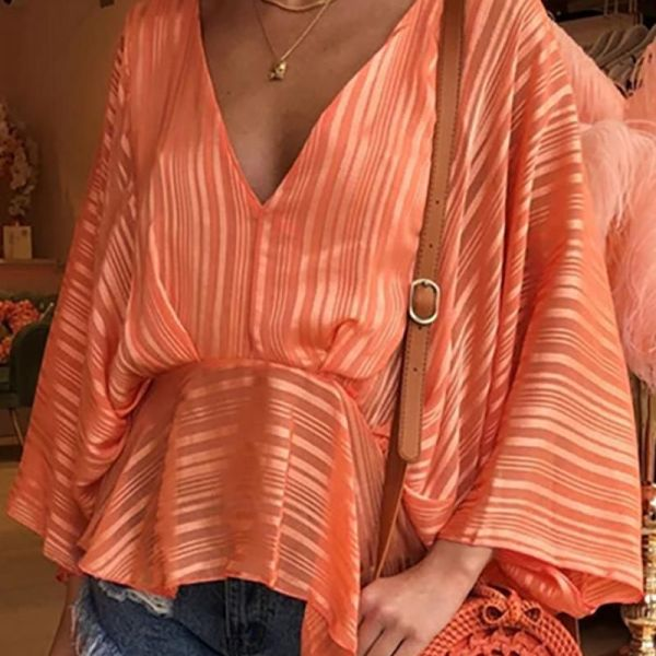 Solid Batwing Sleeve Casual Blouse 2