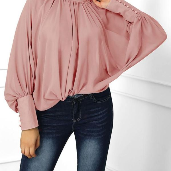 Lantern Sleeve Wide Cuff Ruched Blouse 2