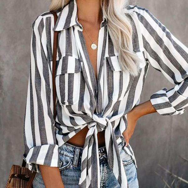 Striped Knotted Detail Pocket Blouse 2