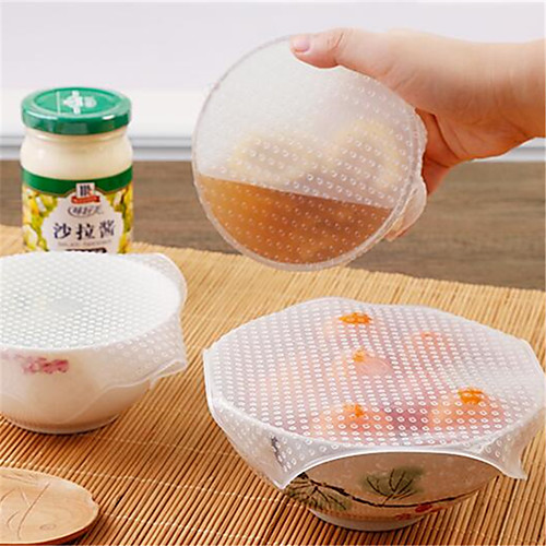 4Pcs Multifunctional Food Fresh Keeping Saran Wrap Kitchen Tools Reusable Silicone Food Wraps Seal Vacuum Cover Lid Stretch 2