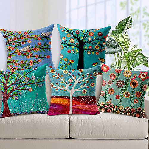 5pcs Linen Throw Pillow Case Pastrol Oil Painting Style Cushion Cover Home Sofa Decorative 18 X 18 Inch 45 X 45 CM 2