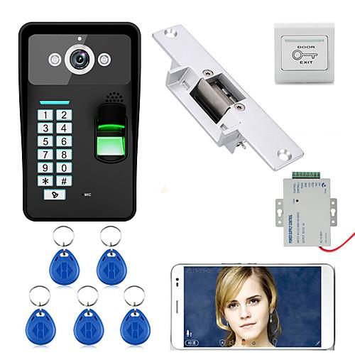 720P Wireless WIFI RFID Password Fingerprint Recognition  Video Door Phone Doorbel Intercom System  Electric Strike Lock 2