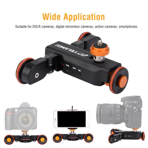 YELANGU Electric Auto Dolly Video Car Motorized Track Slider Skater for Camera 2