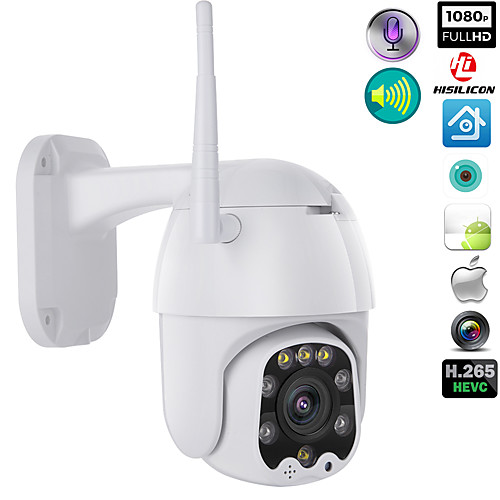 1080p WIFI Wireless Outdoor PTZ CMOS IP Camera H.265X Speed Dome CCTV IP66 Waterproof Two-Way Audio Night Vision Remote Access Security Cameras WIFI Exterior 2MP IR Home Surveilance 2
