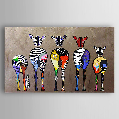 Hand-Painted Canvas Animal Oil Painting Five Colorful Zebra Modern Art Stretched Ready To Hang 2