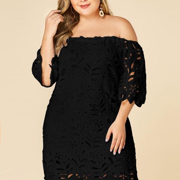 Plus Size Black Lace Off Shoulder Half Sleeves Dress 2
