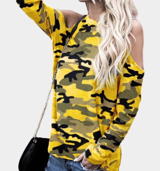Yellow Camouflage Round Neck Cold Shoulder Long Sleeves T-shirt 2