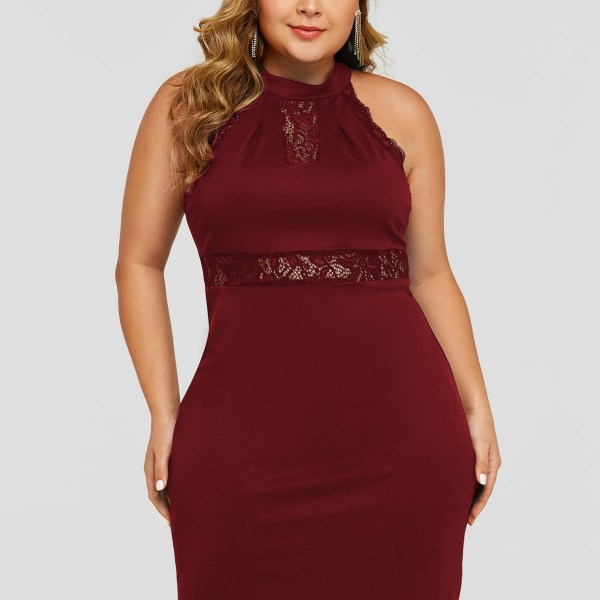 Plus Size Burgundy Lace Insert Halter Sleeveless Dress 2