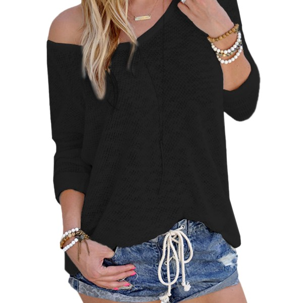 Black Sexy V Neck Long Sleeves Knitted T-shirt 2