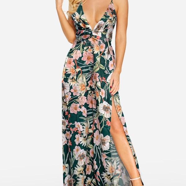 Green Random Floral Print Deep V Neck Sleeveless Dress 2