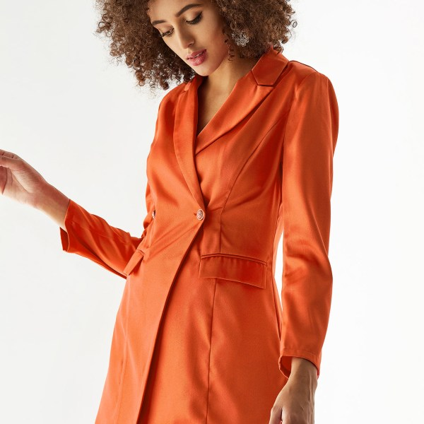 YOINS Orange Lapel Collar Button Design Long Sleeves Blazer 2