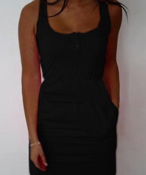 Black Sleeveless Tight Waist Mini Dress 2