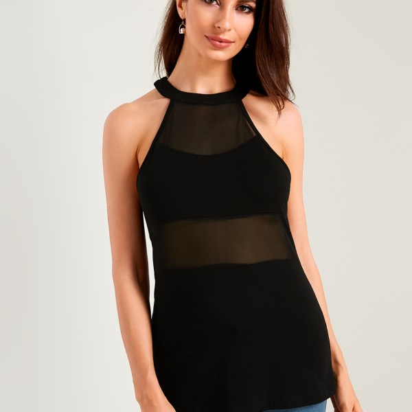 Black See Through Design Plain Halter Sleeveless Camis 2