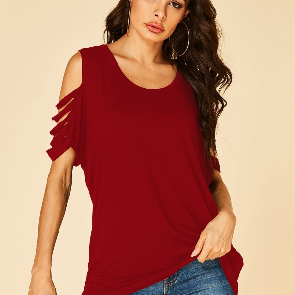 YOINS Burgundy Cold Shoulder Cut Out Short Sleeves Tee 2