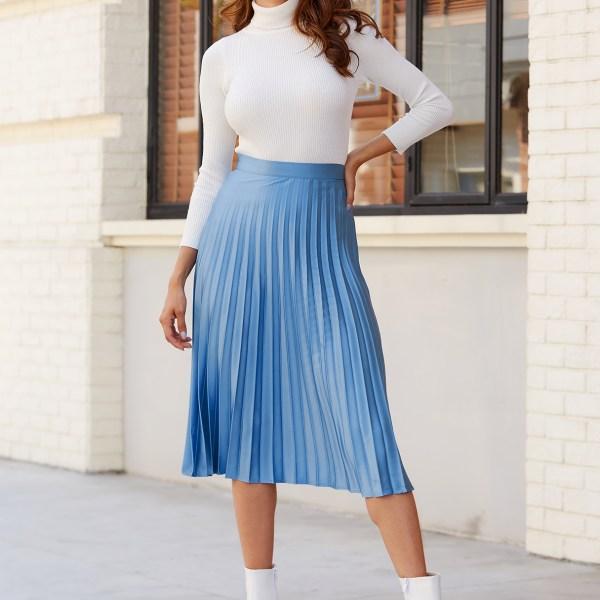 YOINS Blue Pleated Design Satin Skirt 2